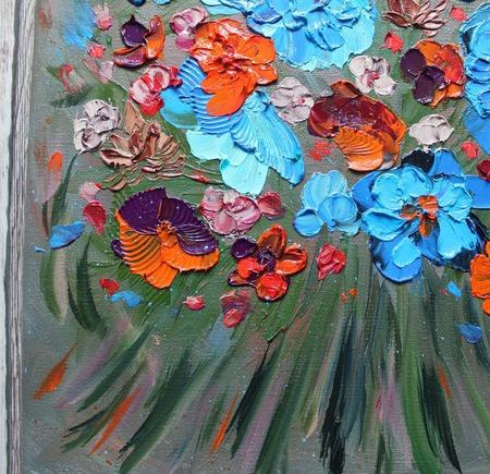 Картина маслом Июльский букет ручной работы на заказ