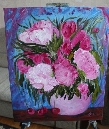 Картина маслом Розовая нега ручной работы на заказ