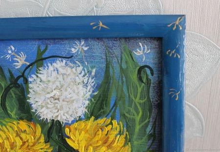 Картина масло/акрил Одуванчики ручной работы на заказ