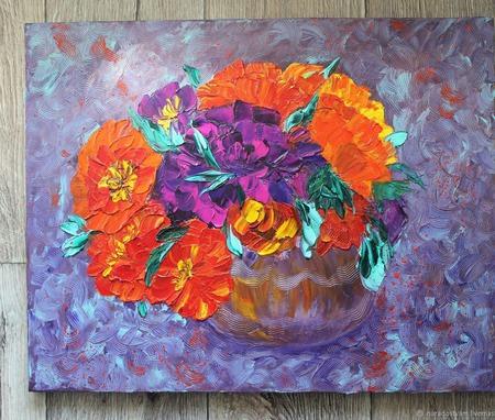 Картина маслом Цветочная фантазия ручной работы на заказ