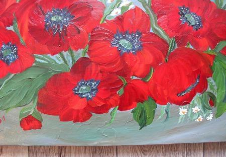 Картина маслом Хоровод маков ручной работы на заказ