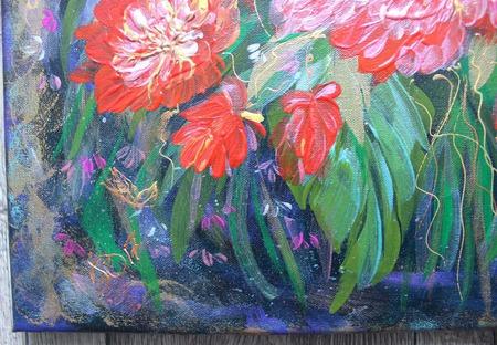 Картина акрилом Цветы на ветру ручной работы на заказ