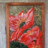 Картина акрилом Маки в золотой паутинке