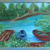 Картина маслом Деревенская романтика