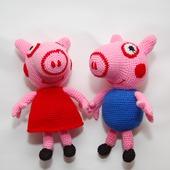 Вязаная крючком мягкая игрушка Свинка Пеппа и Братик Джордж