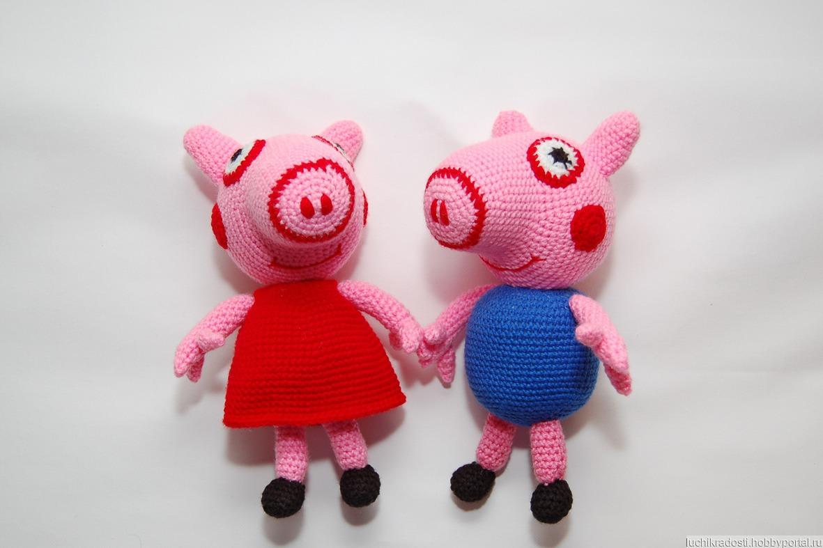 вязаная крючком мягкая игрушка свинка пеппа и братик джордж купить