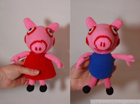 Вязаная крючком мягкая игрушка Свинка Пеппа и Братик Джордж ручной работы на заказ