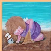 Картина маслом Я на море. По мотивам картины Е.Гапчинской