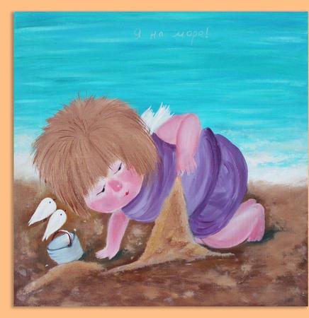 Картина маслом Я на море. По мотивам картины Е.Гапчинской ручной работы на заказ