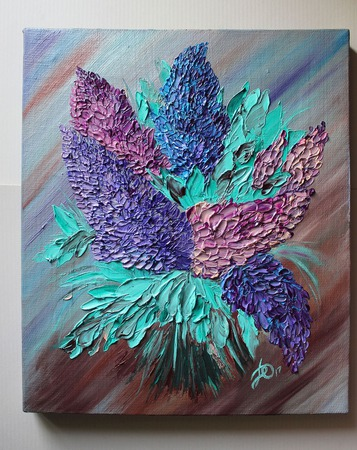 Картина маслом Люпины ручной работы на заказ