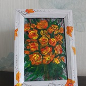 Картина акрилом миниатюра Букет желтых роз