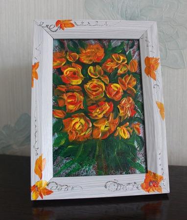Картина акрилом миниатюра Букет желтых роз ручной работы на заказ