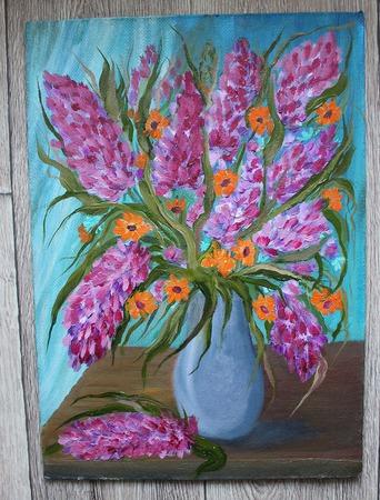 Картина маслом Лиловый букет ручной работы на заказ