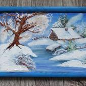 Картина маслом Зимой в Лукоморье