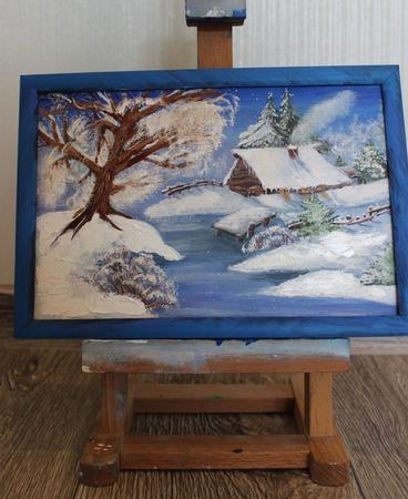 Картина маслом Зимой в Лукоморье ручной работы на заказ