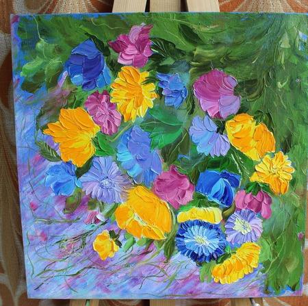 Картина маслом Цветочная мозаика ручной работы на заказ