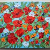 Картина маслом Цветочная поляна