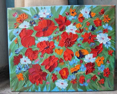 Картина маслом Цветочная поляна ручной работы на заказ