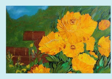Картина маслом Желтые розы ручной работы на заказ