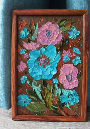 Картина маслом Бирюзовый букетик ручной работы на заказ