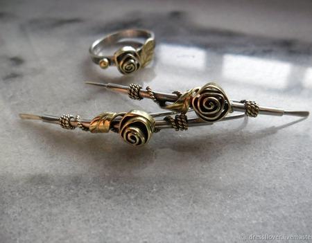 Серьги из серебра и латуни Огурцы с Розами ручной работы на заказ
