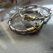 Серебряные серьги-кольца с Розами, серебро и латунь