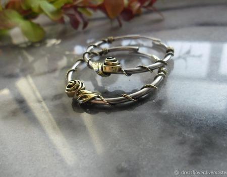 Серебряные серьги-кольца с Розами, серебро и латунь ручной работы на заказ