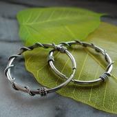 Серьги кольца Вьюнок из серебра
