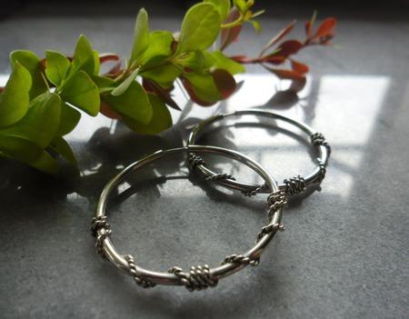 Серьги кольца Вьюнок из серебра ручной работы на заказ