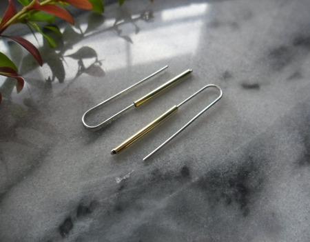 Серьги из серебра и латуни Мини минимализм ручной работы на заказ