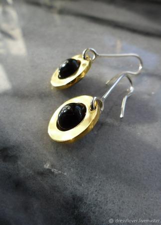 Серьги с позолотой Золотые диски, из серебра и латуни ручной работы на заказ