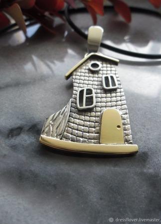 Подвеска из серебра и латуни Домик, где живет сказка ручной работы на заказ