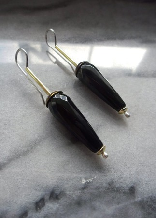 Серьги Мери Поппинс с черным агатом, серьги серебро латунь ручной работы на заказ
