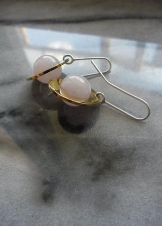 Серьги позолоченные Розовый пион, серебро и латунь ручной работы на заказ