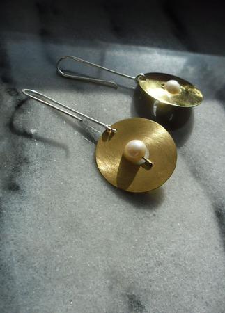 Серьги авторские Золотые диски, из серебра и латуни ручной работы на заказ