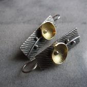 Серьги серебряные Цветок минимализма, авторское серебро