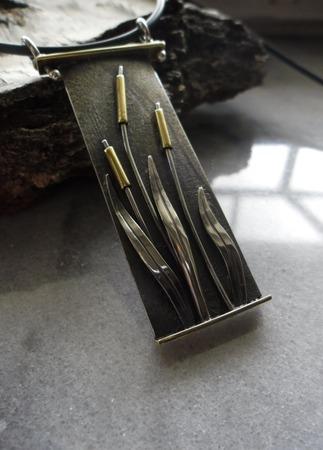 Подвеска Шумел камыш, серебро и латунь ручной работы на заказ