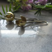 Серьги Жёлтые тюльпаны, из серебра и латуни