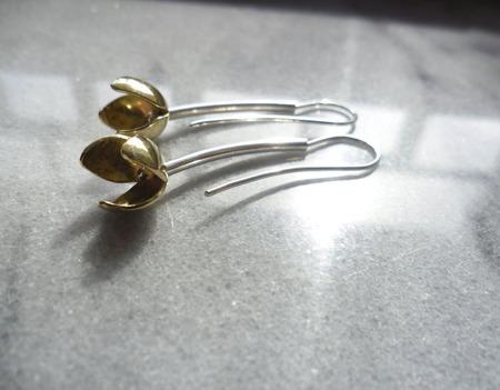 Серьги Жёлтые тюльпаны, из серебра и латуни ручной работы на заказ