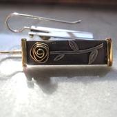 Серьги из серебра и латуни Розы, минимализм