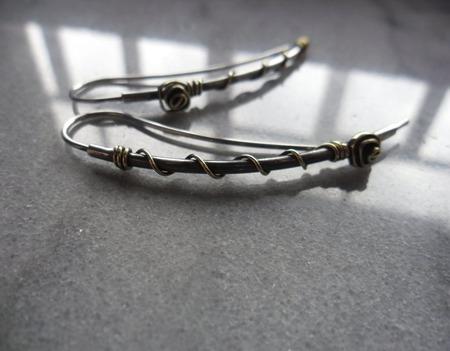 Серьги Вот такие огурцы, из серебра и латуни ручной работы на заказ
