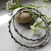 Серьги-кольца Вьюнок золотистый из  серебра и латуни