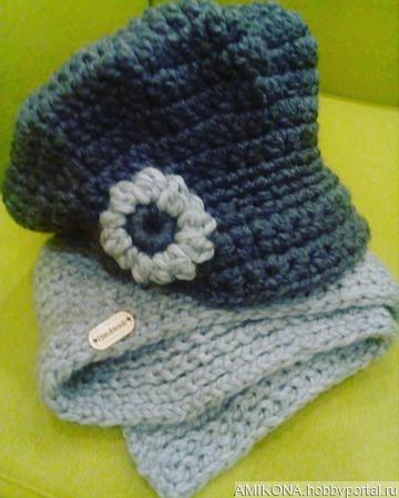 Кепка и шарф зимний комплект ручной работы на заказ