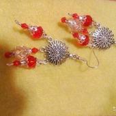 Серьги красные,посеребрённые