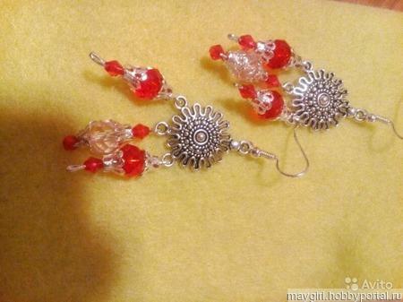 Серьги красные,посеребрённые ручной работы на заказ