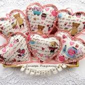 Сердечки Валентинки Розовые Текстильные Набор 3шт