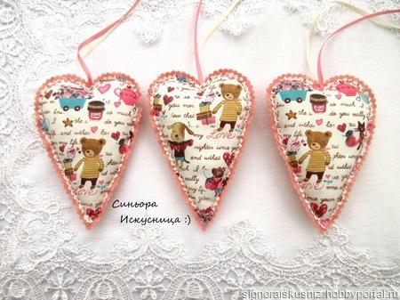 Сердечки Валентинки Розовые Текстильные Набор 3шт ручной работы на заказ