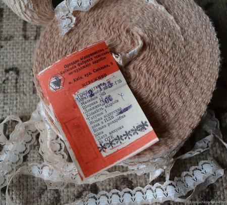 Кружево винтажное узкое бежевое ручной работы на заказ