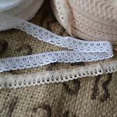 Кружево винтажное узкое белое и бежевое