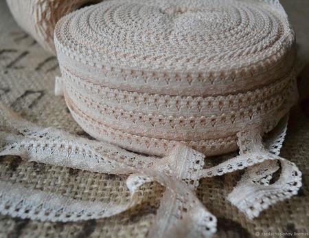 Кружево винтажное узкое белое и бежевое ручной работы на заказ